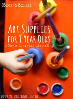 {Art Supplies for 1-year-olds} The transition from baby to toddler is an exciting one and right around 1 year little ones can start be introduced to the arts (if they haven't already. But it can be daunting trying to figure out which art supplies are appropriate for your budding artist! So today, we're sharing the basic art supplies we recommend for our youngest little ones ages 1-to-new-2 years old.