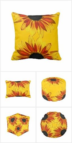 Decorate Your Home with Sunflowers! Brighten your home decor with these cheerful sunflower themed products in shades of yellow, orange and red! Mix and match for a coordinated look! #sunflowers