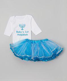 Beary Basics White & Turquoise 'Baby's 1st Hanukkah' Set - Infant by Beary Basics #zulily #zulilyfinds