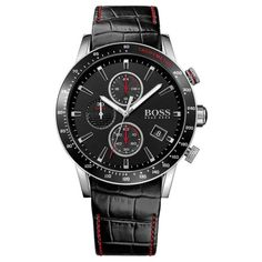 A sophisticated, sports inspired timepiece from the must have Hugo Boss timepiece collection. Featuring a chronograph dial with vibrant red accents, stainless steel case and black leather strap. Hugo By Hugo Boss, Hugo Boss Watches, Gents Watches, Black Stainless Steel, Stainless Steel Watch, Daniel Wellington, Montres Hugo Boss, Herren Chronograph, Boss Black