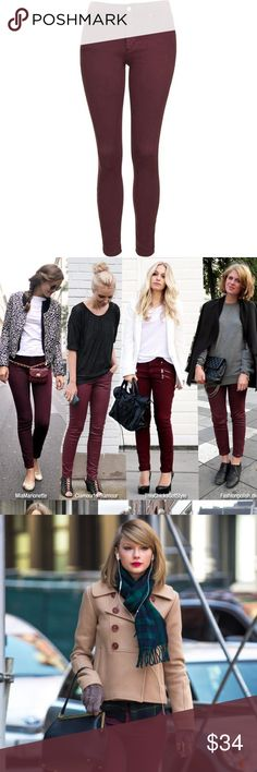 Burgundy skinny jeans by Articles of Society Get The Look! With these great burgundy skinny jeans from Articles of Society- Sold at Anthropologie, Nordstrom and many upscale boutiques - super soft and comfy jeans! Anthropologie Jeans Skinny