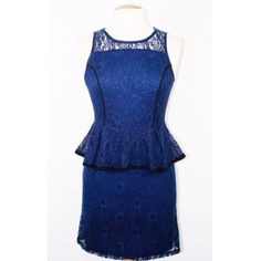 Xhilaration • Navy Blue Lace Peplum Dress New with tags! Navy blue lace peplum dress, very chic and perfect for professional wear. Zips from the back. Bought from Target, never worn! Xhilaration Dresses