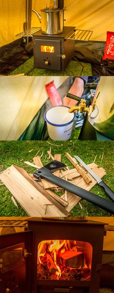 A warm tent and hot water with this! Stove Accessories, Family Camping, Campsite, Getting Out, Great Places, Tent, Cozy, Warm, Kids