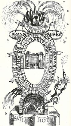 Brochure illustration for the Pavilion Hotel, Scarborough, Yorkshire by Edward Bawden, 1930