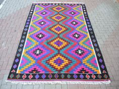 VINTAGE Turkish Kilim Rug Carpet, Handwoven Kilim Rug, Antique Kilim Rug ,Decorative Kilim, Natural Wool 76''  X 115''