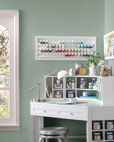Even small spaces can make a great craft room. A corner desk is the perfect solution for aparment or small-space dwellers who want to get crafty. Shop more Martha Stewart Living furniture solutions from Home Decorators Collection.