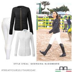 As seen on @noellefloydstyle, steal Georgina Bloomberg's classic style with the Athens Breeches, Aurora Shirt and the new SS16 Platinum Arianna jacket ~ link in Bio. #blackandwhite #stylesteal #aaridingstyle #treatyourselfthursday #style #equestrian #wef2016