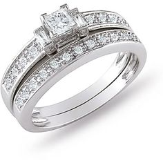 Wedding Band Ring 10KT White Gold For Her 1.60 ct Round Cut Diamond Cubic Zirconia Two Stone Engagement Ring 14KT White Gold