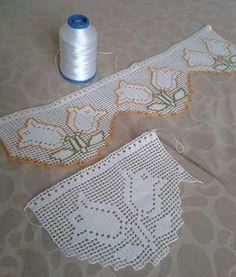 HUZUR SOKAĞI (Yaşamaya Değer Hobiler) Crochet Granny, Crochet Motif, Crochet Lace, Filet Crochet Charts, Crochet Borders, Russian Crochet, Cable Knitting, Crochet Curtains, Lace Border