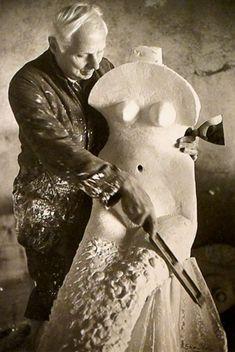 Max Ernst with sculpture
