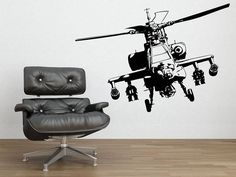 military helicopter wall sticker by parkins interiors | notonthehighstreet.com