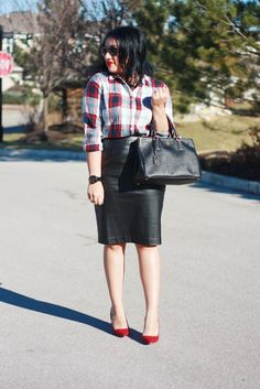 Plaid Shirt + Leather Pencil Skirt [business casual outfit idea]