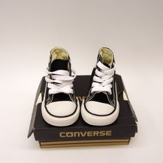 0ee40bddeecc New Converse Toddler Black Chuck Taylor All Star Laced High Top Sneaker  Shoes 4