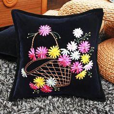 Easy Ribbon Flower Basket Embroidery Black Pillow Case Cushion Cross Stitch Sets Needlework Swing Gift Handwork Craft Home Decor Cushion Embroidery, Floral Embroidery Patterns, Hand Embroidery Flowers, Hand Embroidery Designs, Ribbon Embroidery Tutorial, Silk Ribbon Embroidery, Diy Embroidery, Black Pillow Cases, Black Pillows
