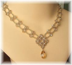 Wedding Necklace - Woven Golden Hues Bridal Necklace by Handwired Jewelry Designs, via Flickr