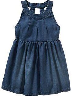 Sleeveless Denim Dresses for Baby Product Image Little Girl Outfits, Little Girl Fashion, Little Girl Dresses, Toddler Outfits, Kids Outfits, Girls Dresses, Pageant Dresses, Toddler Dress, Sleeveless Denim Dress