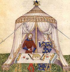 Une demoiselle séduit Perceval lors d'un repas sous un pavillon (Lancelot 343), Lancelot du Lac et la quête du Graal, Bnf ms fçs 343 1375-1400