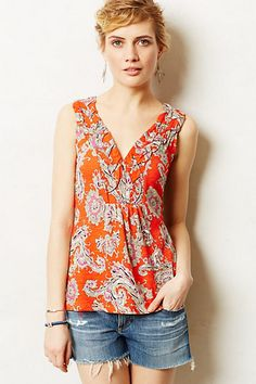 Hauraki Tank  #anthropologie blue or yellow print for the office with a cardi and swap to casual on weekend