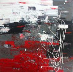Toile abstraite. Acrylique sur toile de coton. 30'' x 30'' L'envers. Karolanne Leduc