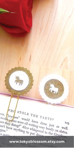 gold glitter unicorn planner clips and bookmarks by Tokyo Blossom