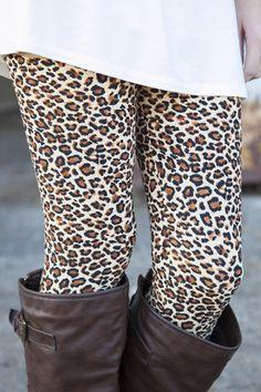 Cheetah Print Leggings | White Plum