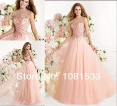 Romantic A-Line Floor Length Beaded Bodice Pink Tulle Long Prom Gown Formal Evening Dresses 2014