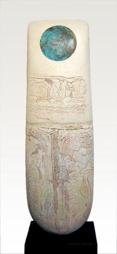 White Standing Stone stoneware h. 99 x w. 94 cm