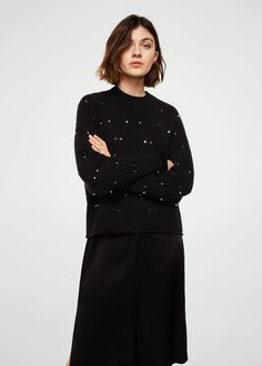 Studded knitted sweater | MANGO