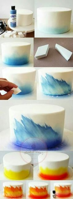 DIY Ombre Cake Technique with Airbrush and Makeup Sponge - 17 Amazing Cake Decor. - DIY Ombre Cake Technique with Airbrush and Makeup Sponge – 17 Amazing Cake Decorating Ideas, Tips - Cake Decorating Techniques, Cake Decorating Tutorials, Cookie Decorating, Decorating Ideas, Cake Icing Techniques, Decorating Cakes, Cake Decorating Airbrush, Cake Decorating Amazing, Piping Techniques