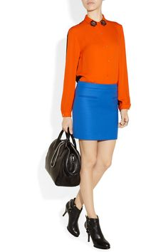 KENZO|Jewel-embellished two-tone silk-georgette shirt|NET-A-PORTER.COM