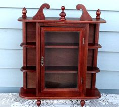 Vintage 60s Small Wood Curio Cabinet  by TimelessTreasuresbyM on Etsy