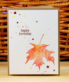 Painted Maple Leaf by Lisa Spangler using Hero Arts for Simon Says Stamp.  Stamptember 2013