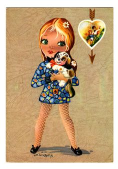 Vintage doll card from the 70's. Big eyed girl di bluumievintage