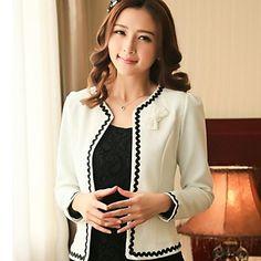 o trabalho das mulheres arco manga longa curto blazer (algodão) - BRL R$ 85,64