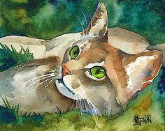 Abyssinian Cat (Watercolour). Ron Krajewski