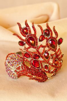 Red Peacock Crystal Cuff