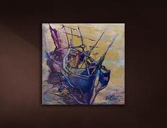 Artist: Inna Orlik Original, acrylic colors on canvas. All Continents, Small Paintings, Acrylic Colors, Original Artwork, Boat, The Originals, Canvas, Gallery, Artist