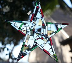 Christmas Mosaic Mirror Star 8 shipping included by hungryholler, $75.00