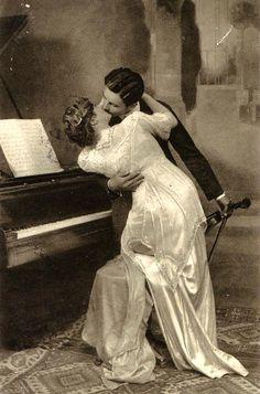 Vintage romance photo postcard.