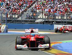 Fernando Alonso leads Ferrari team-mate Felipe Massa