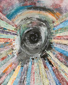"""""""Labeled"""" by Eric Staib    A moving portrayal of the artist's struggle throughout his life with dyslexia.  The hands of his peers and colleagues point to the inner vortex which represents the artist.  On the sleeves are the names he was called.    Very powerful, very interesting."""