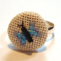 Blue butterfly cross stitch ring with seed bead detail. Available from me (You Sew Should) on Etsy £6