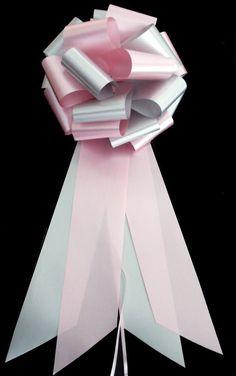 Rose Petal Pink and Silver Wedding Pew Pull Bows - 9' Wide, Set of 6 -- For more information, visit image link.