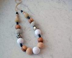 Beige Nursing Necklace/Teething Necklace  Baby Mom by EjaEjovna, $28.00