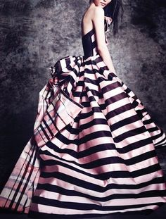 Will never ever wear this dress, but I just LOVE it!  It's gorgeous!! All of my favorite things, stripes, black & pink and I've always loved the ball gown look. Just...wow!
