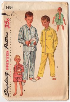 Vintage 1950s Boys Pajamas Simplicity Sewing Pattern 1434 Long Sleeve Short Sleeved Chest 23