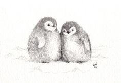 Penguin chicks  original pencil sketch by wildsunart on Etsy