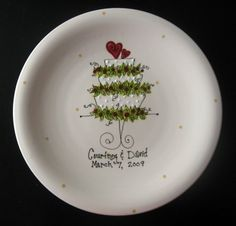 Hand Painted Ceramic Wedding Plate by cutiepatooties1 on Etsy