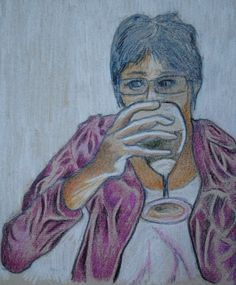 coloured pencil sketch of Chris with a Large Glass - pete holbrook