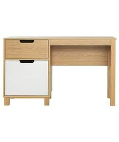 Single Pedestal Desk - Cream and Oak Effect.